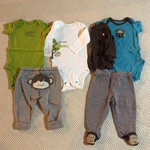 CARTER'S Two 3 piece 3 month monkey outfits